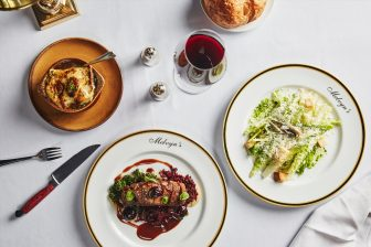 Melvyn's variety of dishes and red wine